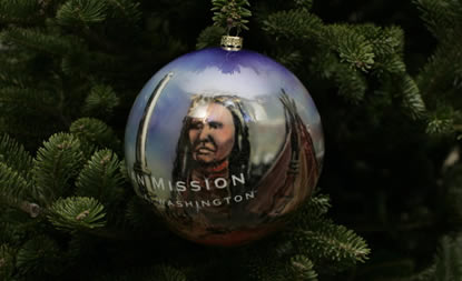 Close-up of Whitman Mission Christmas ornament on White House Christmas tree