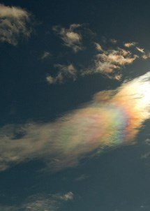 Iridescent clouds have a rainbow effect