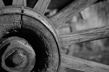 close-up of hub of wooden wheel