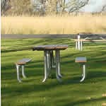 Picnic table on green lawn.