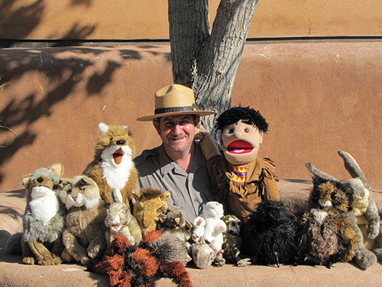 Ranger with puppets