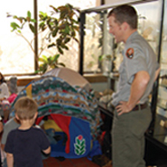 Park Ranger with children at Carlsbad Caverns
