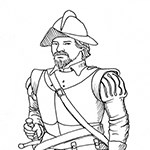 Drawing of Spanish conquistador.