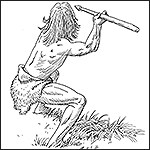 Drawing of a Paleoindian hunting.