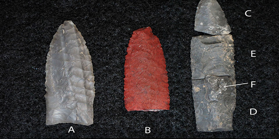 Gray and red projectile points