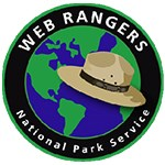 Web ranger logo with flat hat and web rangers national park service text