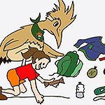 Drawing of a cartoon roadrunner and girl putting things in a backpack.
