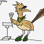 Drawing of a cartoon roadrunner  holding a spatula.