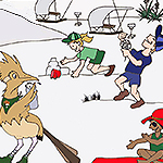 Drawing of a cartoon roadrunner and kids playing in the sand and flying a kit.