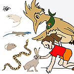 Drawing of a cartoon roadrunner and a kid with a rabbit, snake, lizard, spider, and mouse.
