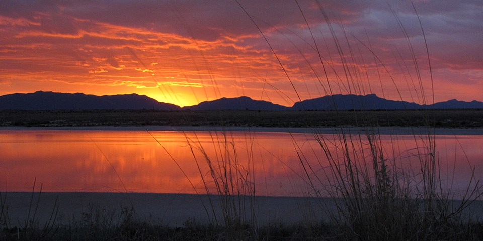 Sunset at Lake Lucero with the San Andres Mountains on the background.