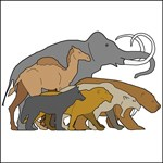 drawing of Pleistocene animals