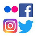 A collection of symbols representing social media: Flickr, Facebook, Instagram, and Twitter