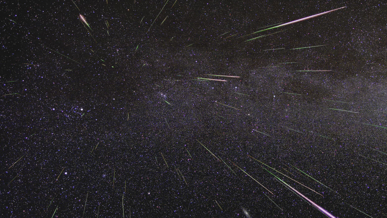 Meteors radiating from a constellation during a shower