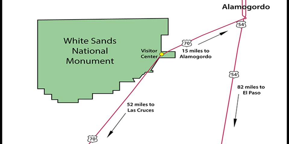 Directions - White Sands National Monument (U.S. National ... on census map las cruces nm, map hotels las cruces nm, city street map of ruidoso nm, printable map of las cruces nm, map of southern nm, city of los alamos nm, street map of espanola nm, scale on a map of nm, street map of farmington nm, map of az and nm,
