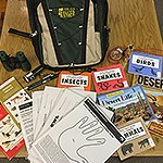 Backpack with booklets and activity sheets