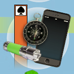 Composite image of orange post, flash light, compass, and cell phone.