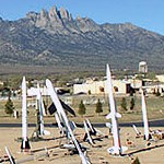 Life-size models of various rockets.