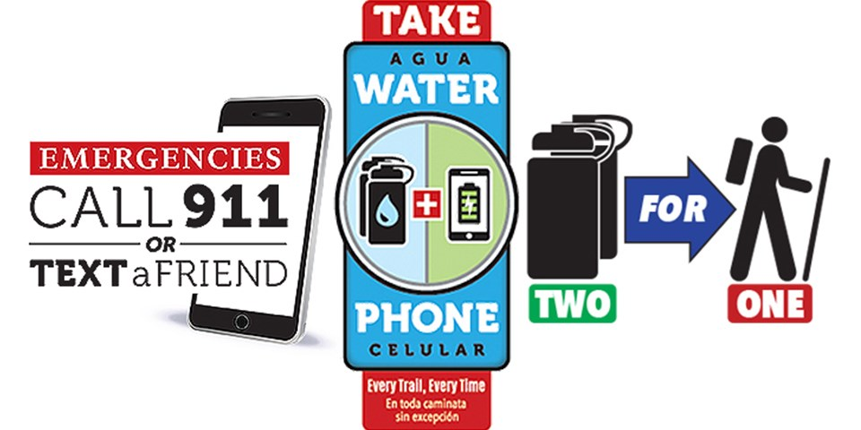 Safety graphics that say to call 911 or a friend in case of an emergency and to take at least two bottles of water and a fully charged cell phone every hike.