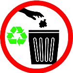 Graphic that shows to dispose of waste properly and recycle.