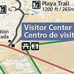 Close up of map with trails and visitor center marked