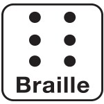 Black and white Braille icon