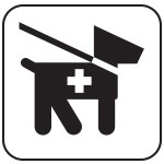 Black and white service animal icon