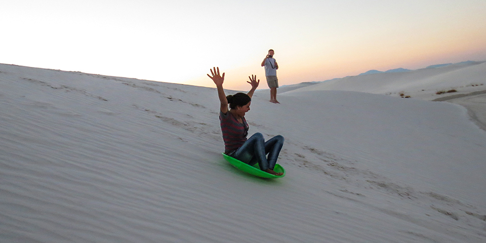 White Sands sledding