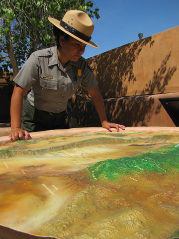 Ranger Danielle with topo map