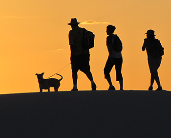 Family hiking dunes with dog on leash