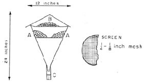 Berlese Funnel. The cave debris (A) is placed on the screening in the lower funnel. The paradichlorobenzene fumes from above (B) drive the insects through the debris to the screening where they fall into the vial with preservative at the bottom (C).