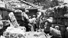 CCC workers building the walk-in cave entrance