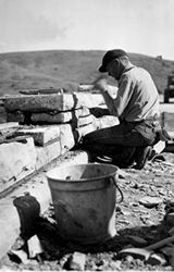 building stone walls in the Headquarters area