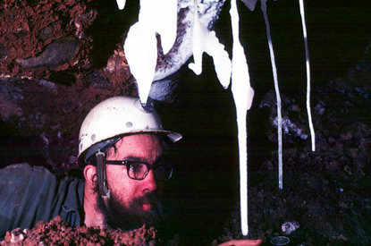 Andy Flurkey looks at stalactites in the Chimera Room