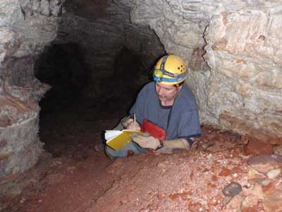 Rod Horrocks recording survey data in Cobble Hall