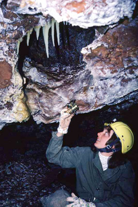 Andi O'Conor looks at stalactites in the Creamery