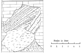 Sketch of filled sink structure on Fairy Palace Loop. Note variation in bedding and crossbedding.