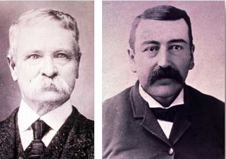 two historic black and white photographic portraits, JD McDonald is pictured on the left and John Stabler is on the right