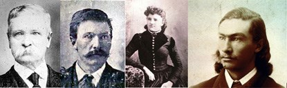 Four historic photographic portraits, each showcasing a member of the McDonald Family. From left to right: Jesse, Elmer, Mary, and Alvin.