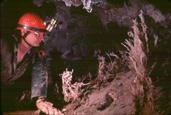 Jim Pisarowicz inside Wind Cave with caver gear (helmet, headlamp, gloves).  He is looking at helictite bushes.