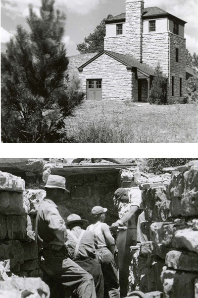 A juxtaposition of two black and white photographs.  One is of the elevator building and the other is of CCC men building a stone wall as part of the entrance to Wind Cave.
