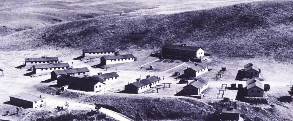 Historic aerial photograph of CCC camp