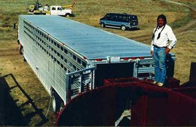 An Inter-Tribal bison cooperative member removing bison from the park via trailer.