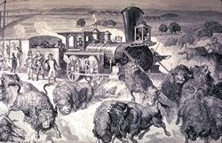 Painting illustrating men shooting bison from a train