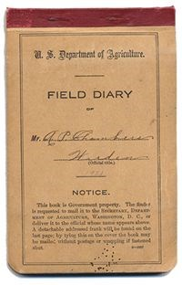 Photograph of the cover of A.P. Chambers' Field Diary