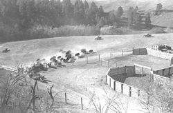 Historic photograph of original bison corrals