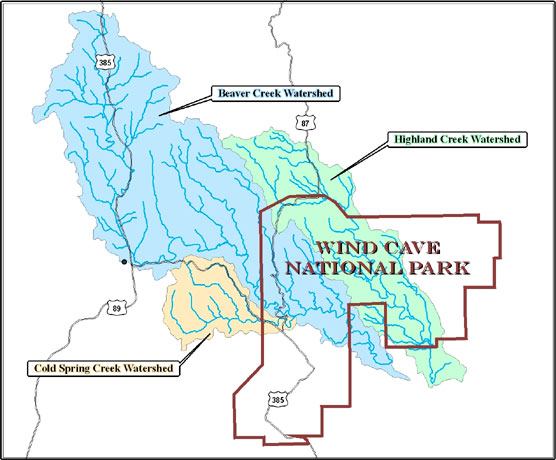 Map of the Wind Cave National Park Watershed