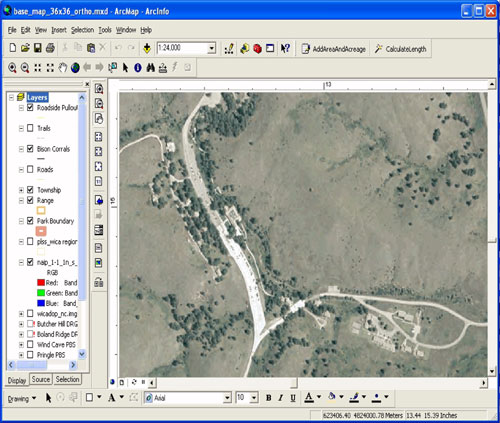 This image is a screen capture of the 2004 NAIP imagery in ArcMap