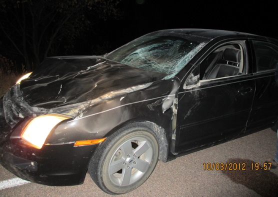 Photo taken at night showing a car with a caved in hood and cracked windshield.