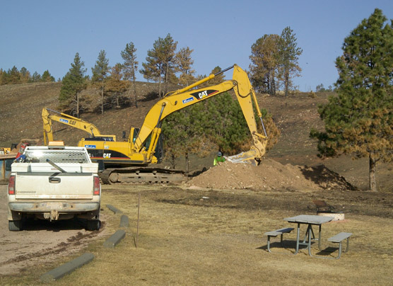 Construction occuring in the Elk Mountain Campground.